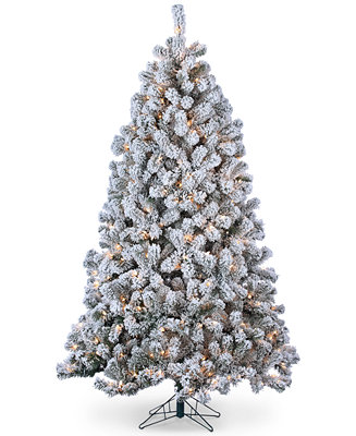 Sterling Flocked Montana Pine 7' Christmas Tree with Clear ...