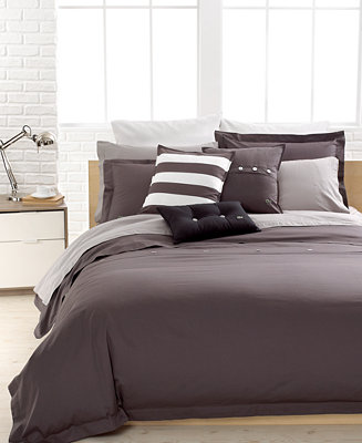 Closeout Lacoste Solid Grey Brushed Twill Comforter And