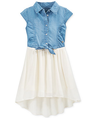 Guess Little Girls Denim To Chiffon Tie Front Dress