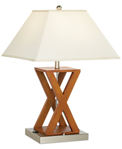 Closeout pacific coast x shape wood outlet table lamp for O shaped table lamp