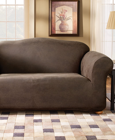 sure fit stretch faux leather separate seat loveseat sofa