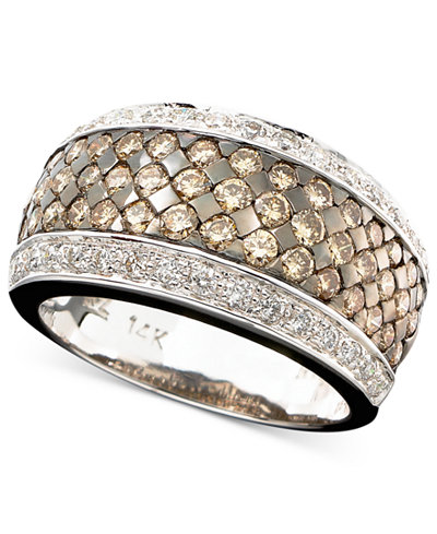 Le Vian Chocolate And White Diamond Band Ring In 14k Gold