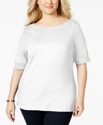 Karen Scott Plus Size Elbow-Sleeve Boat-Neck Top, Only at Macy's