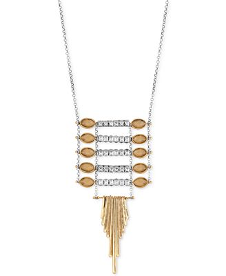 Lucky brand two tone ladder pendant necklace jewelry for Macy s lucky brand jewelry