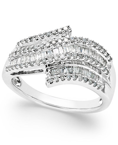 Diamond Wave Right Hand Ring 1 2 Ct T W In Sterling