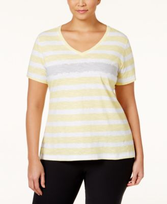 Style & Co. Sport Plus Short-Sleeve Striped Tee, Only at Macy's
