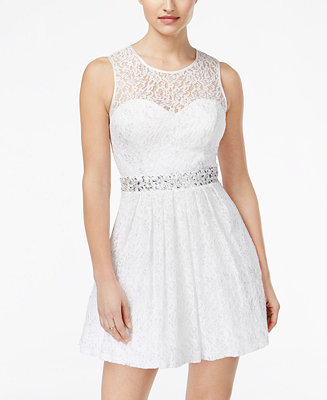 B Darlin Juniors Jeweled Lace Fit Amp Flare Dress Juniors