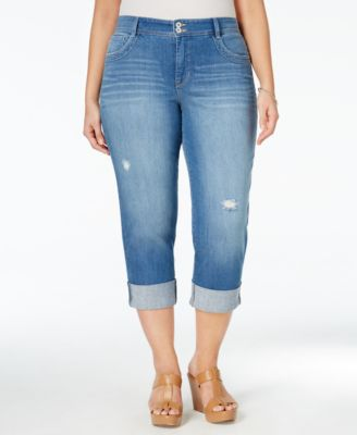 Style & Co. Plus Size Distressed Cuffed Saint Wash Capri Jeans, Only at Macy's