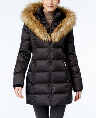 Inc International Concepts Faux Fur Trim Puffer Coat Only