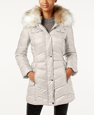 Laundry By Design Faux Fur Trim Hooded Puffer Coat Coats