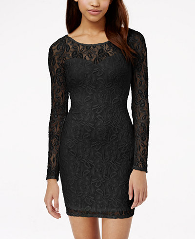 Material Girl Lace Illusion Bodycon Dress, Only at Macy's ...
