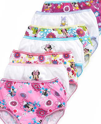 Disney Little Girls 7 Pack Minnie Mouse Cotton Underwear