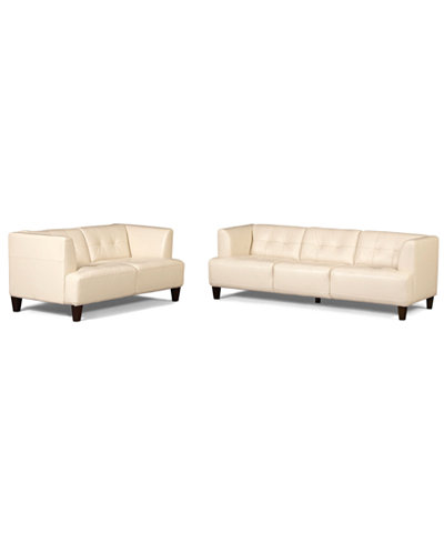 Alessia Leather Sofas 2 Piece Set Sofa And Loveseat Furniture Macy 39 S Review