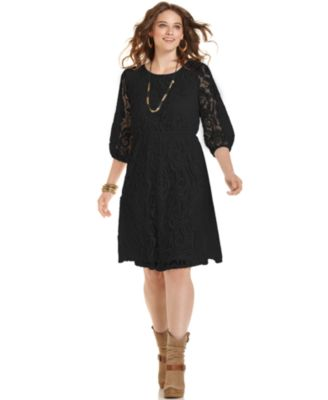 ING Trendy Plus Size Lace A-Line Dress
