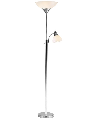 Adesso piedmont steel torchiere floor lamp lighting for Macy s torchiere floor lamp