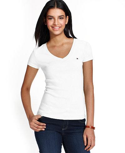 tommy hilfiger v neck t shirt tops women macy 39 s. Black Bedroom Furniture Sets. Home Design Ideas