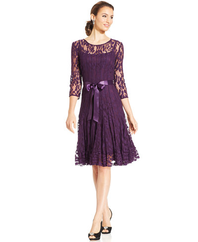 Msk illusion floral lace dress dresses women macy 39 s for Macy s dresses for weddings