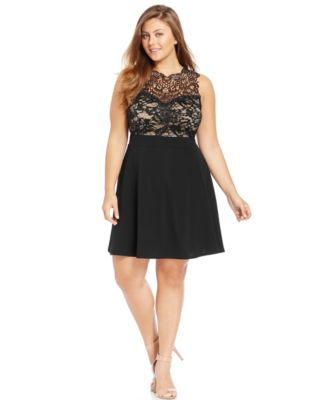 Trixxi Trendy Plus Size Lace Illusion A-Line Dress