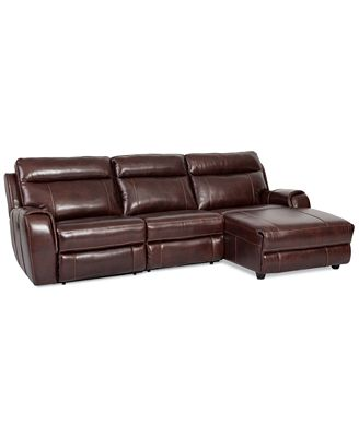 Braddy 3 piece leather chaise sectional with 1 power for 3 piece leather sectional sofa with chaise