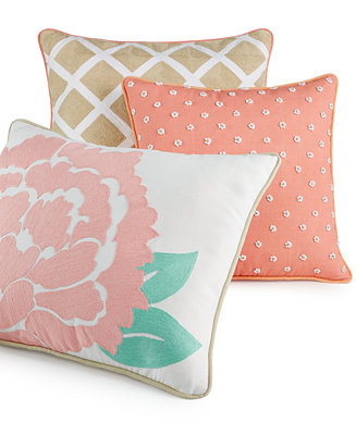 Martha Stewart Decorative Bed Pillows : CLOSEOUT! Martha Stewart Collection Village Peony Decorative Pillows, Only at Macy s ...