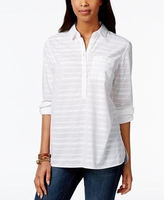 Tommy Hilfiger Striped Roll Tab Sleeve Shirt Tops