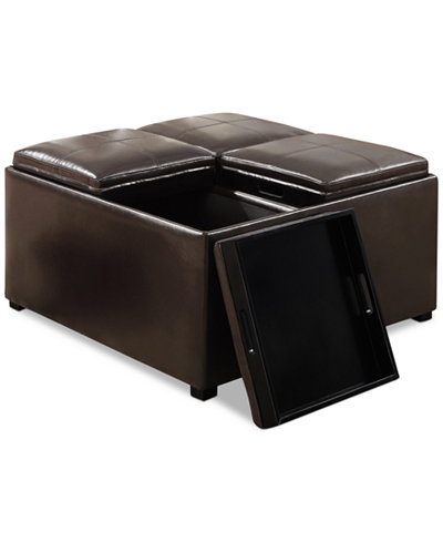 Avalon Faux Leather Coffee Table Storage Ottoman Direct Ship Furniture Macy 39 S