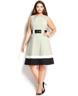 Calvin Klein Plus Size Colorblocked Belted A-Line Dress