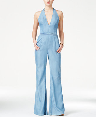 Guess Wide Leg Denim Halter Jumpsuit Pants Women Macy S