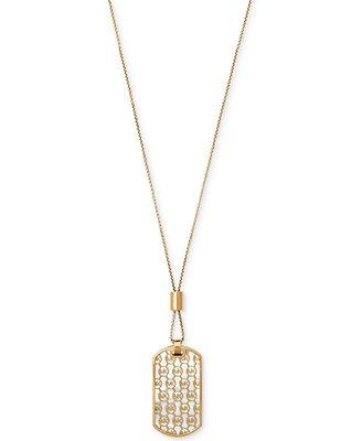 Michael Kors Gold Tone Monogram Dog Tag Pendant Necklace