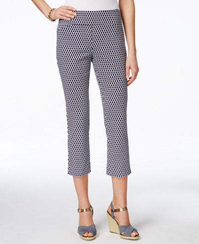 Charter Club Petite Cambridge Printed Pull-On Capri Pants, Only at ...