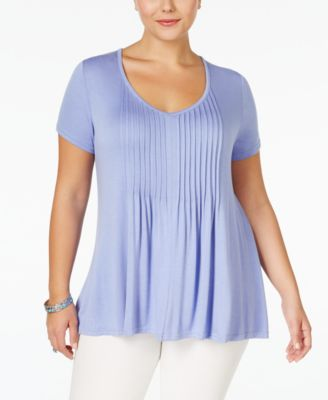 American Rag Trendy Plus Size Pintucked Tee