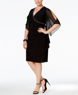MSK Plus Size Embellished Surplice A-Line Dress