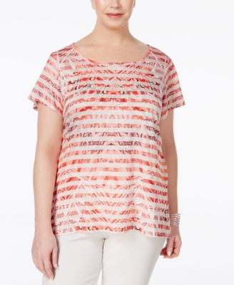 Style & Co. Plus Size Printed High-Low Top, Only at Macy's