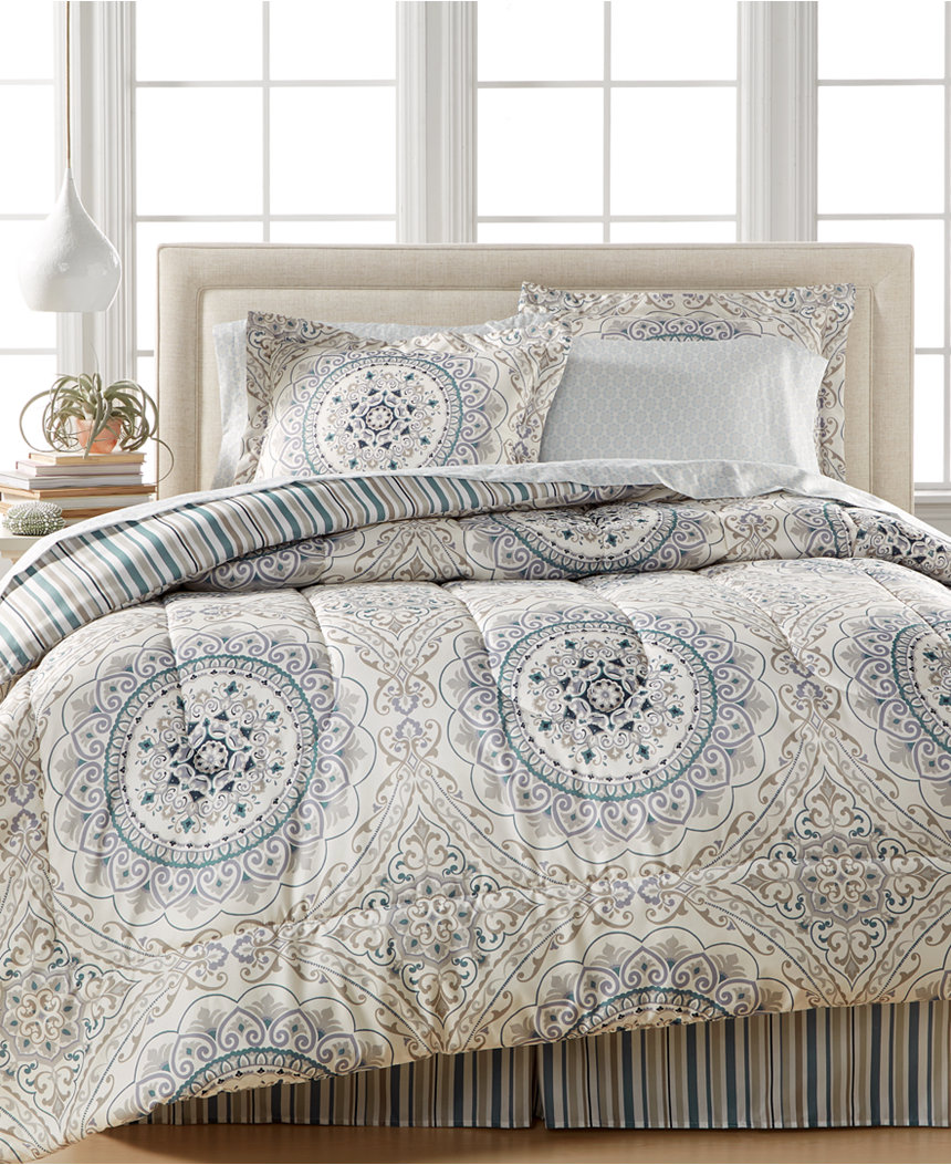 Sunham Aidan 8-Piece Full Bedding Ensemble - Grey