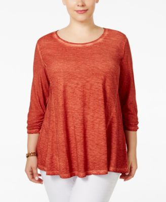 Style & Co. Plus Size Ruched-Sleeve Swing Top, Only at Macy's