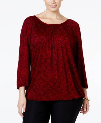 MICHAEL Michael Kors Plus Size Tweed-Print Peasant Top