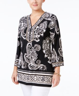 JM Collection Plus Size Paisley-Print Tunic, Only at Macy's
