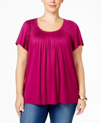 Style & Co. Plus Size Short-Sleeve Pleated Top