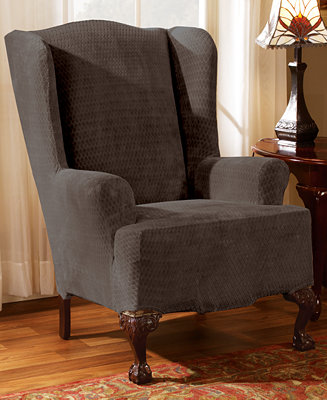 sure fit stretch royal diamond wing chair slipcover slipcovers for