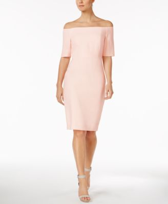 bc1fa78f7088 Calvin Klein Off-The-Shoulder Crepe Dress In Powder Pink