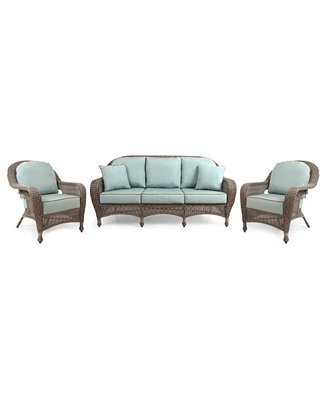 Sandy Cove Outdoor Wicker 3 Pc Seating Set 1 Sofa And 2