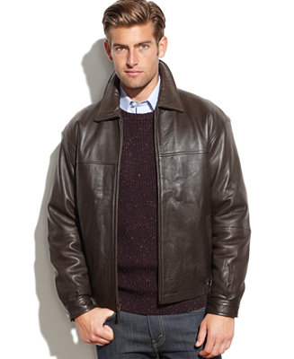 Boston Harbour Leather Wind Resistant Bomber Jacket