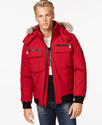 Calvin Klein Bomber Jacket With Faux Fur Hood Coats