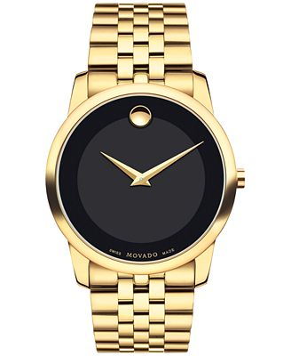 movado s swiss museum classic gold pvd stainless steel