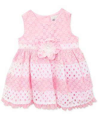 Rare Editions Baby Girls Pink & White Eyelet Colorblock
