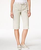 Karen Scott Twill Belted Skimmer Shorts, Only at Macy's