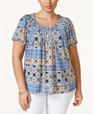 Style & Co. Plus Size Printed Pleat-Neck Top, Only at Macy's