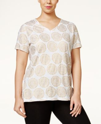 Style & Co. Plus Printed V-Neck T-Shirt, Only at Macy's