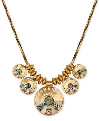 Lucky brand gold tone abalone look fan disc collar for Macy s lucky brand jewelry