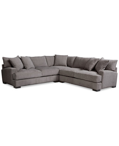 Rhyder 3 Pc L Shaped Fabric Sectional Furniture Macy S